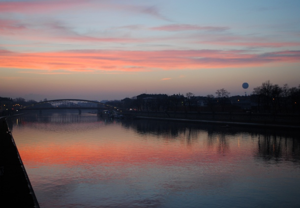Sunset over the Wisla River