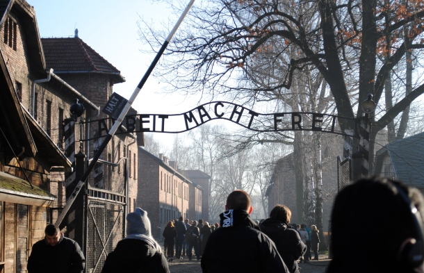 "The entrance to Auschwitz I: ""Work Sets You Free"""